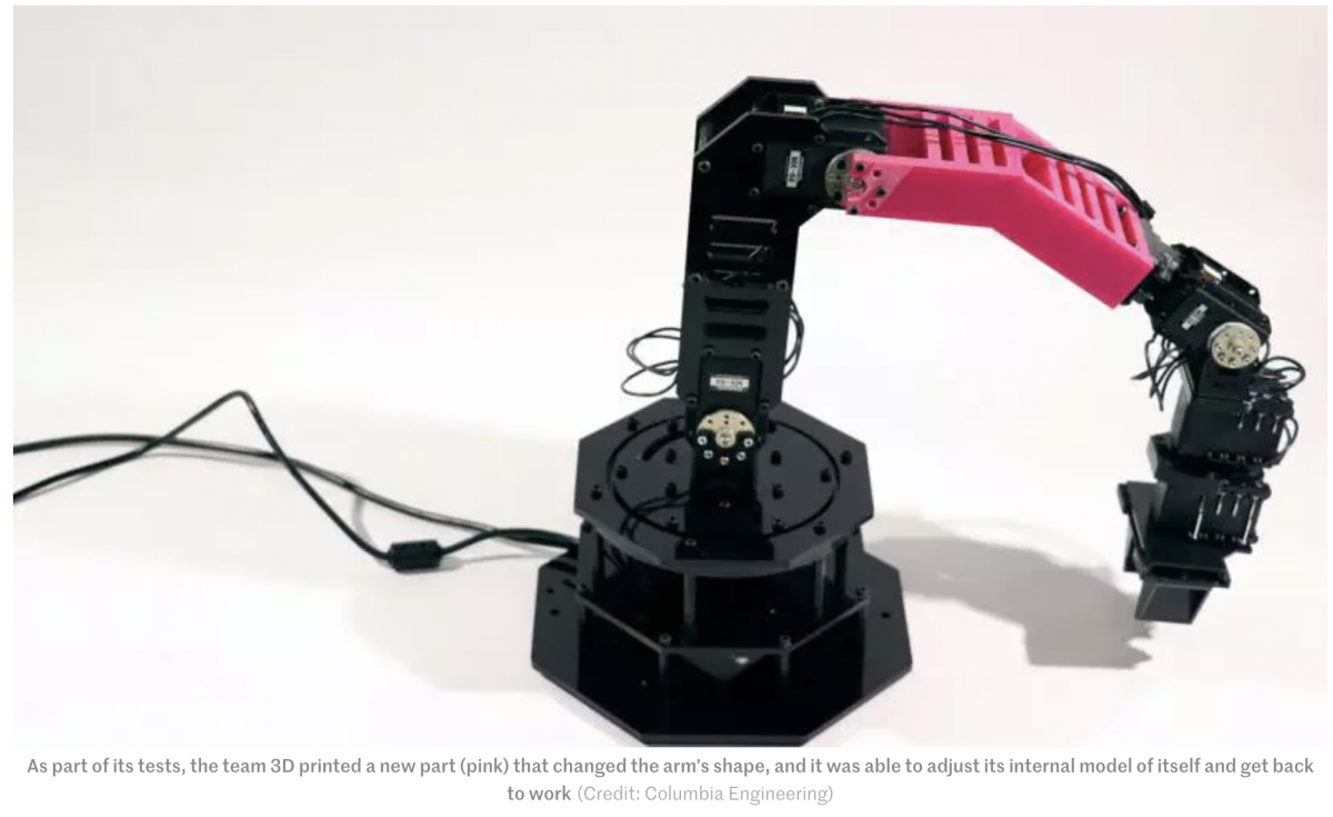 Engineers build robot arm with rudimentary self-awareness